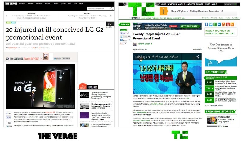 LG G2-related articles (TechCrunch, The Verge)