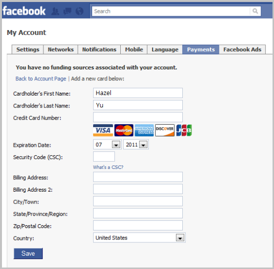 Facebook - Credit Card Information
