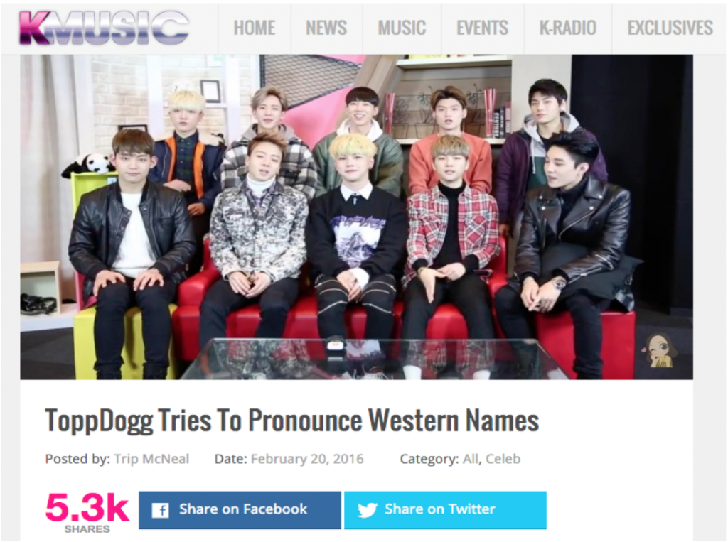 Megan Bowen's recent video about the collaboration project called 'Kpop Stars Pronounce Western Female Names' done with Kpop boy group named ToppDogg – News from KMUSIC